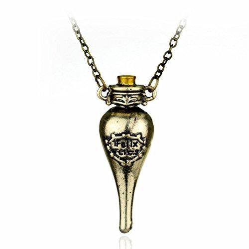 H&H UK Zeitumkehrer-Halskette, Zauberei-Gegenstand, Falcao, Horcrux, Sanduhr-Anhänger, in Samtbeutel - 11 Green