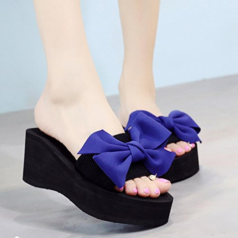 LHA Sandalias de Las Mujeres del Verano Dulce Nudo de la Mariposa Punta Abierta Grueso Zapato Sandalias Romanas...
