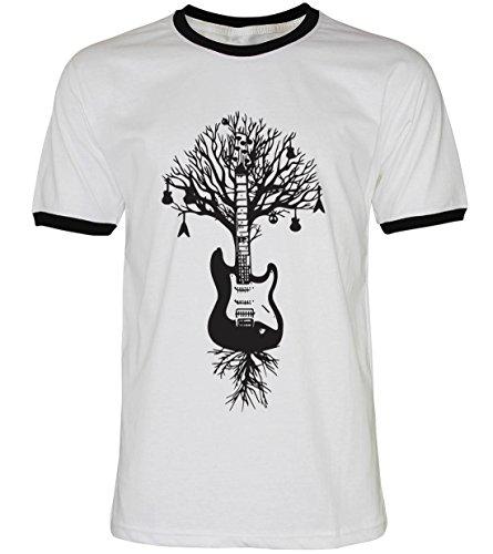PALLAS Unisex's Guitar Tree Graphic Art T Shirt WhiteBB
