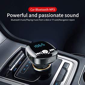 YSHtanj KFZ-Ladeadapter mit Bluetooth, MP3-Player, KFZ-Ladegerät, Adapter BC40, Bluetooth, MP3-Player, Freisprechfunktion, FM-Transmitter mit Dual-USB-Ladegerät, Schwarz