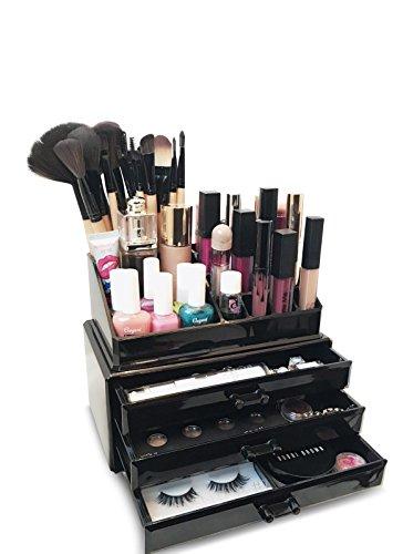 Oi labelstm schwarz Acryl Make Up/Kosmetik/Schmuck/Nagellack Organizer Display Ständer (mit hochwertigen 3mm Acryl) in Geschenkverpackung. (Anzeige Storage Box Organisieren)