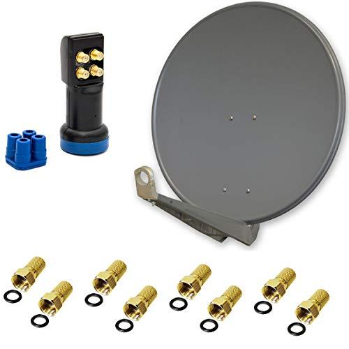 PremiumX DELUXE80 Sat Antenne 80 cm Alu Anthrazit Quad LNB LED Empfangskopf 4 Teilnehmer FULLHD 3D Wetterschutz High Quality