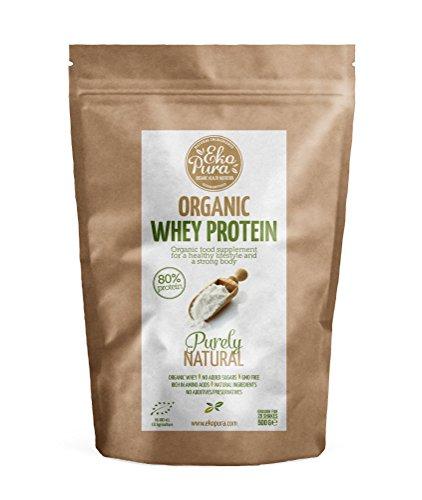 Bio Whey Protein - Purely Natural - 80{2f1da8cf5c038258e762c86c7b291bab84ecbae7a211265f1f42b4c6d4a1d44c} Eiweißpulver - Bio zertifiziert - Molkenprotein aus glücklichem Gras gefütterte Kühe - Frei von Additiven - 500g