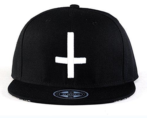 Imagen de aivtalk  hip hop negro sombrero  de béisbol con bordado de cruz snapback ajustable moda para hombre mujer alternativa