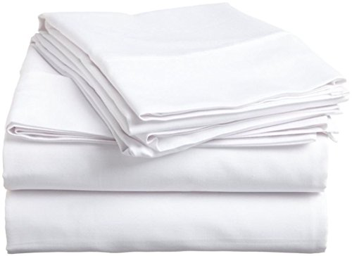 400 Tc Queen-blatt Set (Wege Fair 100% ägyptische Baumwolle 4-Teiliges Bett-Set 400 TC 38,1 cm Deep Pocket Spannbetttuch Soft, Luxus Blatt Queen White Solid)