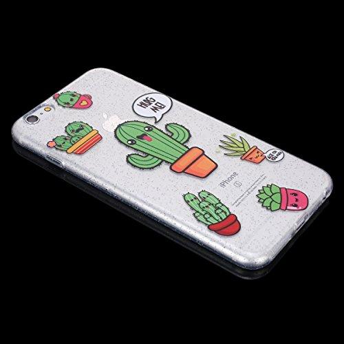 Custodia iPhone 6 Plus, Case Cover iPhone 6S Plus in Silicone Glitter TPU, Surakey Bumper iPhone 6 / 6S Plus Cover Morbida Gomma Premium Semi Hybrid Crystal Clear Cassa del Telefono con Disegno Cartoo Cactus