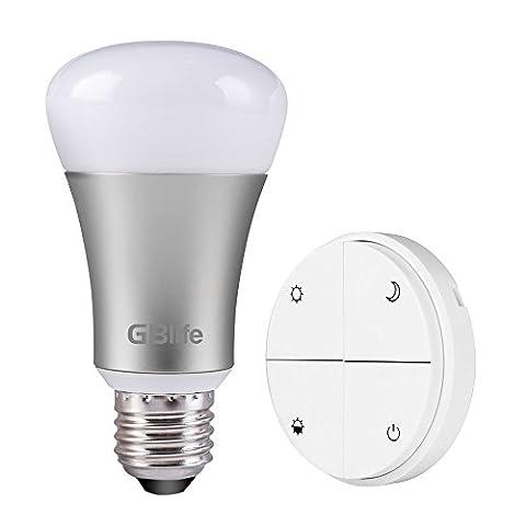 GBlife 8W E27 Ampoules LED Blanc Télécommande sans Fil Lumières de Gradation à économie d'énergie (1Ampoule + 1Lampe Interrupteur)