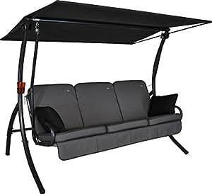 Angerer 411000/136/21 Primero Style Hollywoodschaukel Style, Grau, 3-Sitzer