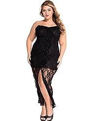 yueyue & alzapaños (FA de detalle de trägerloses kurviges Punta de vestido, color negro, tamaño extra-large