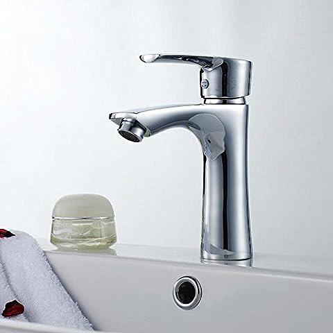 BFDGN Semplice Morden durevole e robusto il rame spazzolato per rubinetti lavandini bagno A caldo e a freddo unico foro di sollevamento resistente alla corrosione di miscelazione in acciaio inox singolo rubinetto Rubinetti per lavandini bagno (Dare 1/2 Hot &a freddo dei tubi flessibili acqua )
