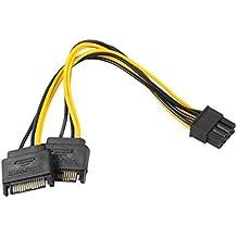 QinMM Adapterkabel 15Pin SATA Mann zu 8pin (6 + 2) PCI-E männliches videokarten-Spg Gelb