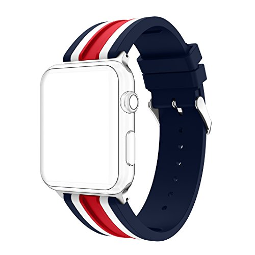 Price comparison product image For iWatch Straps 42mm AnGolf Apple Watch Strap 42mm Silicone Smart Watch Band Replacement Strap with Stainless Steel Bracelet Buckle Clasp Wrist Strap for 42mm iWatch Series 3 / 2 / 1 Sport Edition