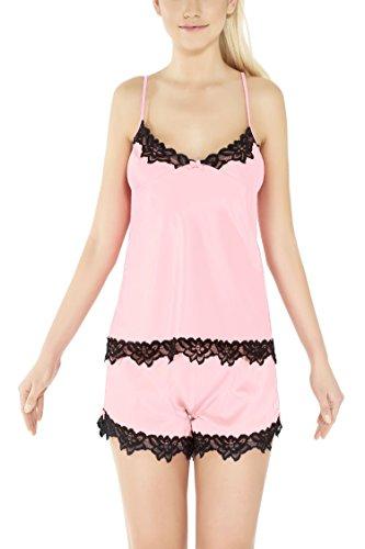 m.Lyra Damen Nachtwäsche Wäsche-Set aus Satin Leandra (XS - 2XL) Rosa