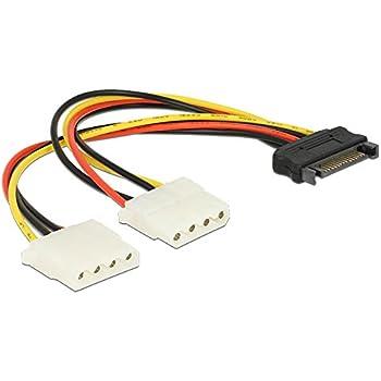 SATA Stecker Original AKTrend/® Stromadapter 4pin auf S-ATA 15pin 12cm Kabel Netzkabel intern 1 x 4 pol Stecker auf 1 x 15 pol