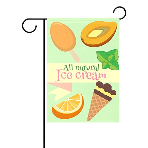 Duble Sided All Natural Fruits organge mint Eis Cool Summer Holiday Polyester HAUS/Garten Flagge Banner 12x 18/71,1x 101,6cm für Hochzeit Party alle Wetter, Polyester, multi, 12x18