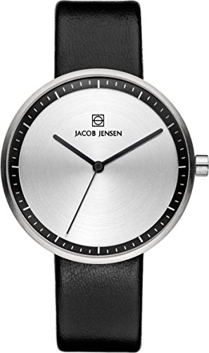 Jacob Jensen JJ Strata Ladies Black Watch 280 - Orologio da polso, donna, pelle, colore: nero