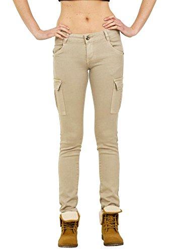 Pantalon de Cargo/Combat à Taille Basse Slim Skinny Stretch - Beige 38
