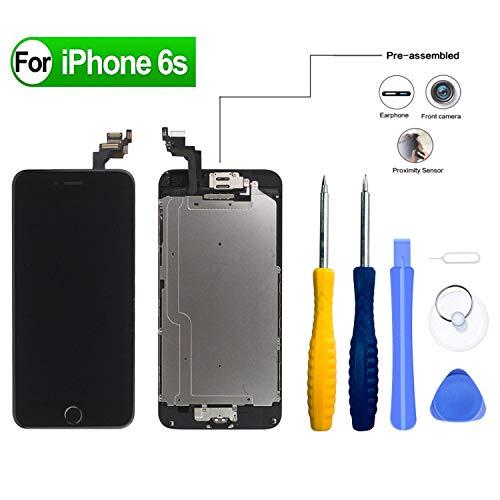 HDXYW Ersatz Für iPhone 6S Schwarz vormontiert Ersatz Display LCD Touchscreen Bildschirm Front Glas Schwarz Home Button, Hörmuschel,Frontkamera & Näherungssensor mit Reparaturset Werkzeuge - Das Iphone-display Schwarz