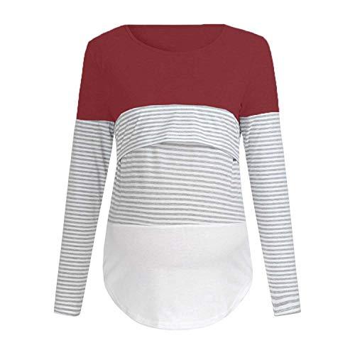 0c454bba HOLYSNOW Women Pregnant Triple Colour Block Cotton Lightweight T Shirt  Blouses Casual Nursing Maternity Breastfeeding Top