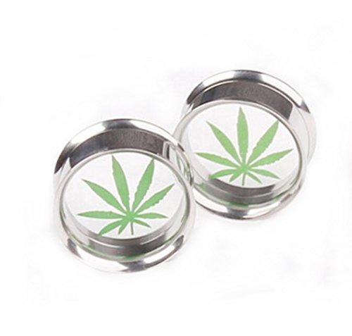 Gudeke Marihuana Cannabis Blätter Weed Ohrringe Ohrstecker Ohrhaken (10mm) (Blätter Voller Weed)