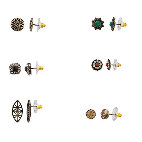 Lux Accessories - Múltiples pendientes de botón surtidos para mujeres y niñas - Paquete de 6 pares.