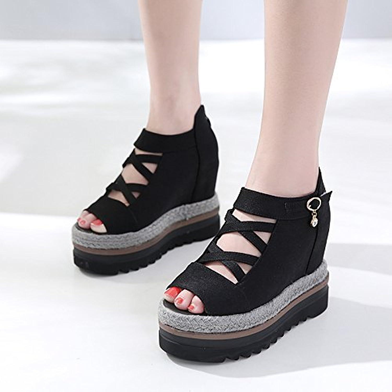 Boca de pescado boca con hierba de fondo grueso, sandalias de moda de las mujeres, negros, treinta y cinco