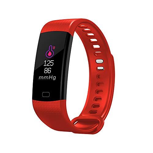 Douerye Smart Hand Ring Screen Herzfrequenz Bluthochdruck Gesundheitsüberwachung Bluetooth Motion Armband,Red