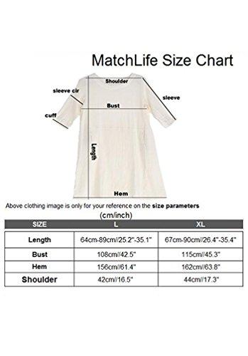 MatchLife Damen T-Shirt Top Kurze Ärmel Leinen und Baumwolle Bluse Dunkelgrau