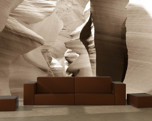 Vlies Fototapete - Antelope Canyon - Arizona USA III - sephia - sepia - 230x150 cm - inklusive Kleister - Tapetenkleister – Bild auf Tapete – Bildtapete – Foto auf Tapeten – Wand – Wandtapete – Vliestapete – Wanddeko - Design (Sandstein-wand-beleuchtung)