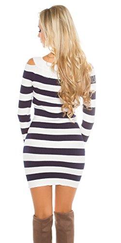 Gestreiftes Rippstrick Minikleid mit Schulter-Cutout Weiß/Schwarz
