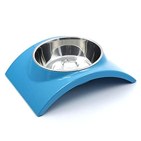 SuperDesign Rainbow Collection, Raised Stainless Steel Bowl in a Melamine Stand, Non-Skid Rubber Bottom, for Dog or Cat, Small, Blue by Super Design