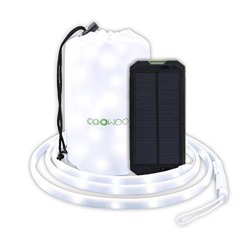 COOWOO LED Streifen Laterne mit Solar Ladegerät Outdoor Solarstrom Powerbank