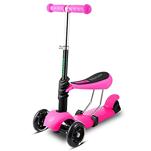 Ancheer Kids Scooter 3-in-1 Deluxe Mini 3 Wheels Safe Easy-Folding