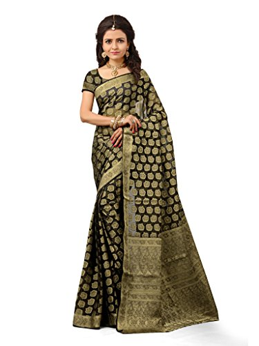 Indianbeauty Women\'s Silk Saree (IB1030_Black)