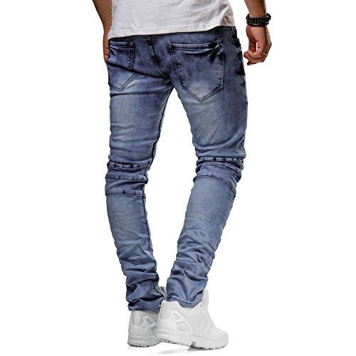 New Stone Herren Jeans Biker Hose Denim Slim Fit Gerippt Stonewashed Verwaschen Blau ZS613 ZS586 ZS630 Hellblau