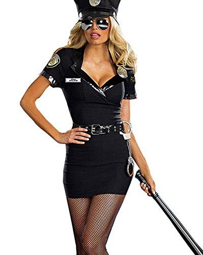 Polizistin 5-tlg. Schwarz Dirty Cop Polizei Kostüm Officer (Cop Kostüm Für Frauen)