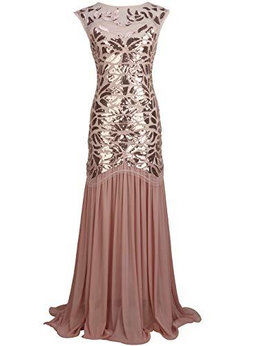 FAIRY COUPLE 1920 Bodenlänge V-Rücken Pailletten verschönert Abschlussball Abend Kleid D20S004(S,Rose Gold)