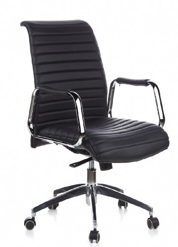 hjh OFFICE 600910 chaise de bureau, fauteuil de bureau à roulettes ASPERA 10 noir en cuir, siège pivotant haut de gamme avec accoudoirs, dossier moyen inclinable, design élégant et moderne, piètement robuste