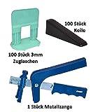 Starter Kit-peygran azulejos de nivelación sistema: alicates/herramienta + 100clips/espaciadores + 100cuñas en un cubo de alta resistencia. Calidad superior, Europea producto para lippage libre instalación para azulejos y piedras