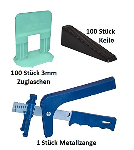Starter Kit–peygran azulejos de nivelación sistema: alicates/herramienta + 100clips/espaciadores + 100cuñas en un cubo de alta resistencia. Calidad superior, Europea producto para lippage libre instalación para azulejos y piedras