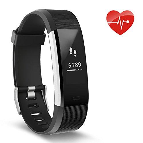 Herzfrequenz-Monitor, Ausun 115 HR Plus Fitness Uhr Wasserdicht IP67 Pulsuhren Aktivitäts-Tracker mit GPS Schrittzähler Schlafmonitor Smart Armband Für Kinder Damen Männer, Schwarz (Uhren Sport Männer)