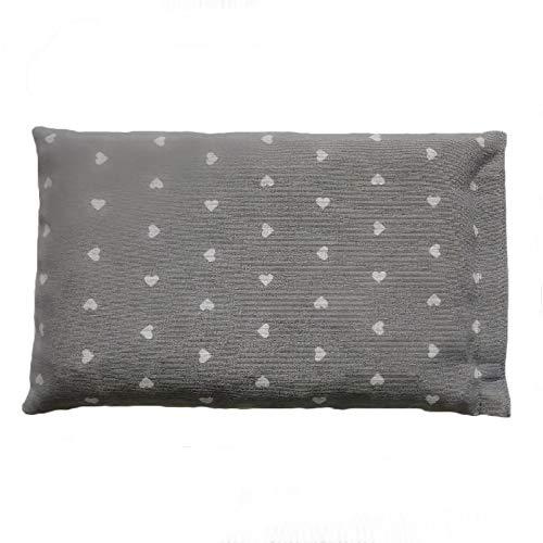 Cuscino rilassante con semi di lino e fiori di lavanda per cervicale stomaco aromaterapia per insonnia (630gr. - 32x19cm sfoderabile) - cuori grigio. prodotto a mano in emilia romagna