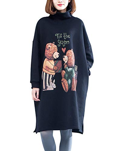 Bademode Oose Cute Bear Bedrucktes Midi Sweatshirt Kleid Langarm Damen L Bikinis (Farbe : Schwarz, Size : Einheitsgröße) -