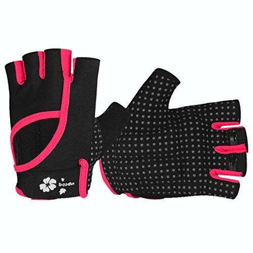 MISS&YG Sport Fitness Slip Half-Finger-Handschuhe tragresistent Sweat Hand Back Openwork Yoga Barbell Fitness Handschuhe,Pink,M/L