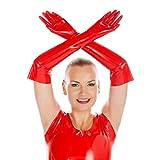 Rubberfashion Lange Latex Handschuhe, Latexhandschuhe bis zum Ellenbogen mit veredelter Oberfläche nicht chloriert für Frauen und Herren Menge: 1 Paar rot M