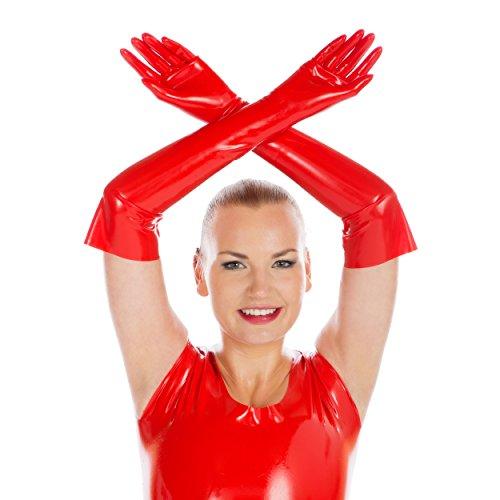 Rubberfashion Lange Latex Handschuhe, Latexhandschuhe bis zum Ellenbogen mit veredelter Oberfläche nicht chloriert für Frauen und Herren Menge: 1 Paar rot S - Frauen, Talkum-puder