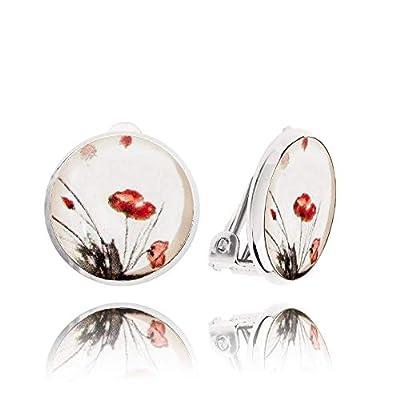 Jolies Petites Boucle d'Oreilles Clips non Percées de couleur Blanche avec Coquelicot Rouge; Cadeau Love Été pour Femme Dragon Porter; Diamètre 1.4cm