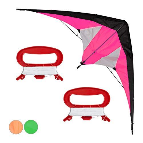 Relaxdays Lenkdrachen, Zweileiner, groß, Kinder & Erwachsene, Deltadrachen, 30 m Schnur mit Spule, Kite 170x66 cm, pink