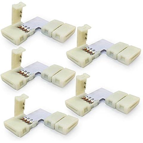 Neuftech® 5x conector esquina forma de L para adaptador de conector rápido tira del LED RGB 5050