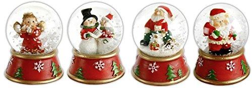 Schneekugel Weihnachten, sortierte Motive: Schneemann Weihnachtsmann Engel, Weihnachtsdekoration, ca. 6,5 cm 1 Kugel